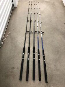 LOT of 5 Spinning Rods Berkley Fusion Shakespeare Tiger Rod 2pc Medium-Heavy