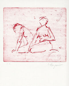 Irene Hangauer, Radierung a. Bütten signiert, Exemplar e.a. abstrakte Figuration