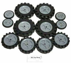 12 KNEX Wheels Small Medium Large Tire w/ Gray Pulley Hub Rim Parts Piece K'NEX