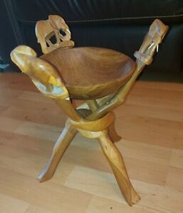 African Hand Carved wooden Bowl with Elephant topped interlinked stand