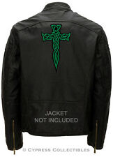 LARGE CELTIC CROSS DAGGER BIKER PATCH IRISH EMBROIDERED Religious GREEN iron-on