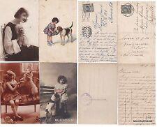 #animali - CANI 1903 - 1928 4 CART. DI BAMBINE E DONNE CON IL LORO CAGNOLINO