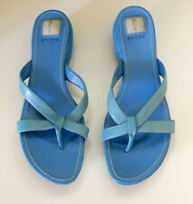 Privo by Clarks Leather Flip Flops Turquoise Slides Sandals Shoes Size 8 M