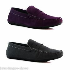 DARK GREY ZASEL MENS SUEDE LEATHER CASUAL PURPLE SLIP ON BOAT DECK LOAFERS SHOES