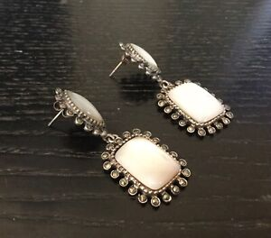 Sterling Silver Dropping Earrings With White Shell Inlaids And Marcasite Details