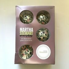 Martha Stewart Everyday Winter Blossoms Glass Ball Ornaments Flowers Vines Set 6