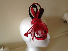 RED FASCINATOR Cup Spring Race Racing Carnival Hair Accessory Clip Ascot Wedding