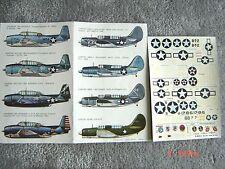 """TBM AVENGER/SB2C-1 HELLDIVER/P-47 THUNDERBOLT """"8 USNAVY"""" ESCI DECALS 1/72"""