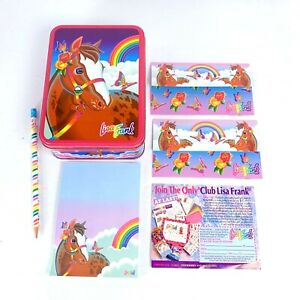 Vtg 90s Lisa Frank Rainbow Chaser Horse Tin w/ Notepad, 2 Postalettes and Pencil