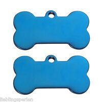 Neu L/P 1 Edelstahl Hundemarke Gravurplatte Dog Tag Knochen Blau 22mmx40mm