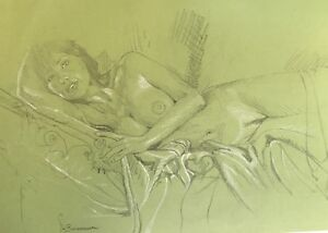 Original Nude Chalk Drawing.Naked Asian Woman With Longing Eyes.Seductive On Bed