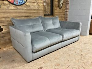 Alexander James Tod 3 str grey silver velvet sofa modern retro contemporary