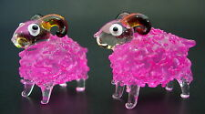 2 Tiny Glass SHEEP Pink Painted Bubble Glass Ornaments Glass Animal Curio Gifts