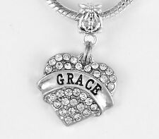 Religious charm Grace Charm Fits European style Bracelet Believer Crystal Heart