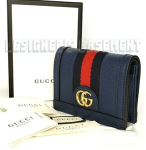 GUCCI blue OPHIDIA leather blue-red web Gold MARMONT GG Mini wallet NIB Authentc