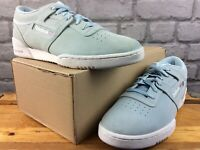 REEBOK MENS UK 8 EU 42 WORKOUT LO CLEAN PALE BLUE SUEDE TRAINERS RRP £60 M