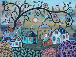 Sunday Landscape 12 x 16 ORIG CANVAS PAINTING Folk ART Whimsy PRIM  Karla Gerard