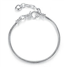 Silver Plated Love Heart Cuff Bracelet Snake Chain Fits European Charm Beads
