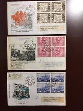 ITALIA FDC - 1960 - SPEDIZIONE DEI MILLE  - IN QUARTINA SU 3 BUSTE