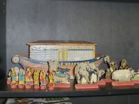 1890's US Made Rufus Bliss The World Noah's Ark Wooden Toy W/ Original Figures..