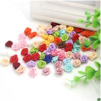100Pcs Mini Rose Satin Ribbon Small Flowers Wedding Decor Sewing Appliques Craft
