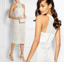 New SELF-PORTRAIT White Cut-Out Striped Mesh Column Cocktail Party Dress UK6/US2