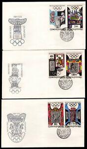 CSSR Mi 1781/84  3 FDC Olympische Spiele 1968 Mexiko Sportarten und Geschichte