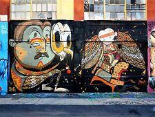 ART PRINT POSTER PHOTO GRAFFITI MURAL STREET MASKED FEATHER NOFL0259