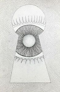 "Original ink drawing on paper Surreal ""Keyhole"" 11.8x7.8"" Eye Black"