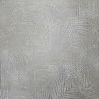 Floral Tropical Palm Leave wicker bamboo Gray Silver metallic textured Wallpaper