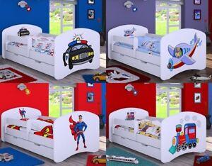 HB1 WEIß Kinderbett mit Matratze Bettkasten verschiedene Varianten für Jungen