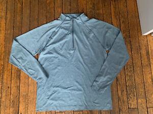 LULULEMON Metal Vent Tech 1/2 zip White Opal River Blue Sz L nwt