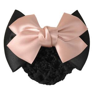 Women New Bowknot Bun Snood Bow Barrette Hair Clip Cover Hair Accessories
