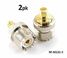 2-PACK Gold Plated SMA Female to UHF (SO-239) Female Jack Adapter, RF-M131-2