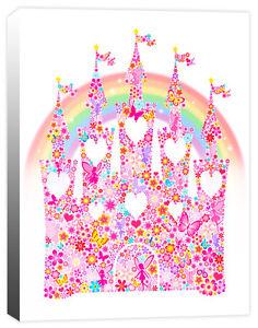 Rainbow Fairy Princess Castle, Flower, Butterfly, Girls Canvas Art Print Picture