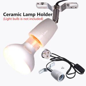 360°Reptile Ceramic Heating Lighting Bulb Lamp Heater Holder with Switch UK Plug