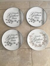 4 Fitz and Floyd Friends Gather Here Plate Farmhouse Free Shipping See Photos !