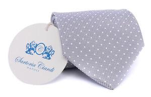 NWT SARTORIA CIARDI Napoli pure silk TIE silver Polka dot luxury handmade Italy