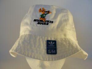 Milwaukee Bucks NBA Adidas Throwback Logo Bucket Hat Size S/M White