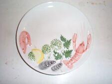 "Vintage Porcelain Plate Crawfish Shrimp Oysters Hand Painted 9"" Portugal  Cajuin"