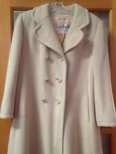 Vtg Regency Cashmere Cream White USA Union Made Womens Winter Coat Jacket 38""