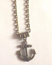 collier chaine 46,5 cm couleur bronze avec pendentif ancre 23x20 mm