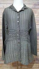 Krista Larson One Size Sheer Green Crushed Textured Lagenlook Silk Top Shirt