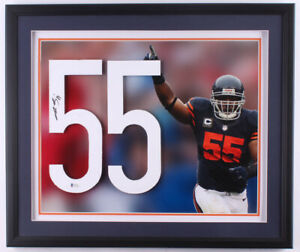 Lance Briggs Signed Chicago Bears Custom Framed Jersey Number Display (Beckett)