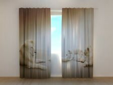 Curtain with White Lions Print Wellmira 3D Living Room Animals Custom Made Size