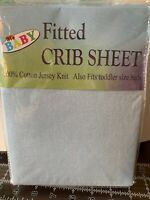 """My Baby Fitted Crib Sheet 100%Cotton Jersey Knit BLUE Solid 28""""x52"""" New In pkg"""