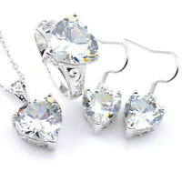 Heart White Topaz Silver Dangle Earrings Pendants Necklaces Ring Jewelry Sets