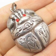 Antq Egypt 925 Sterling Silver Real Coral Gemstone Scarab Hollow Pendant