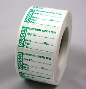 Roll 250 PAT Test/Testing Stickers PASSED Mini 40 x 24mm Pass Labels Non Rip