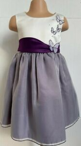 Purple Ivory Butterfly Wedding Flower Girl Bridesmaid Formal Party Dress 0-24m